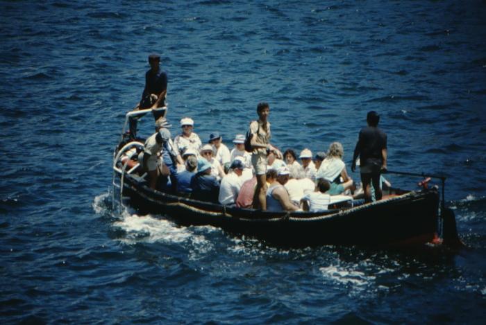 beim Ausbooten, Galapagos August 1989