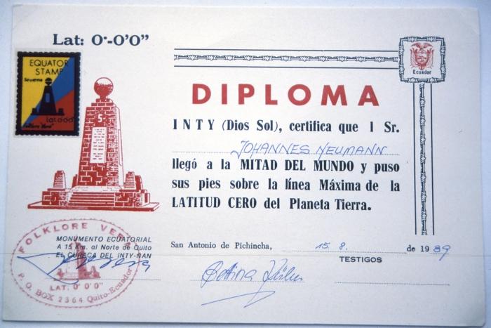 Äquatordiplom 15.8.1989